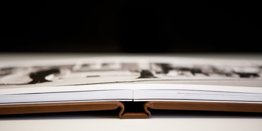 Detail view of the spine of a leather Folio Wedding Album