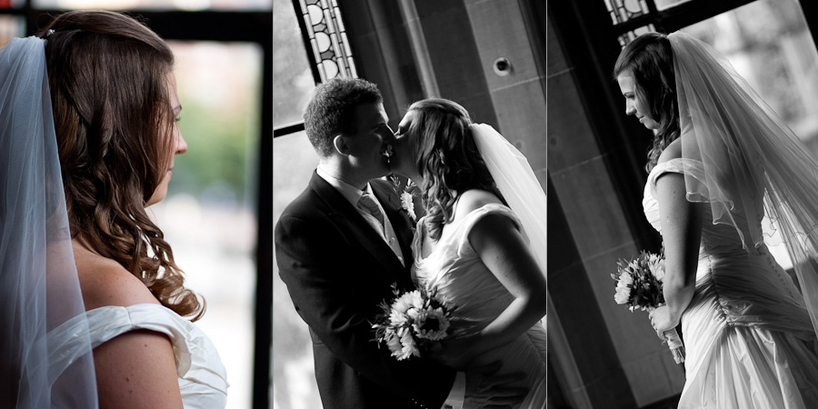 Bridal portraits in Manchester Town Hall, looking out of the large bay windows