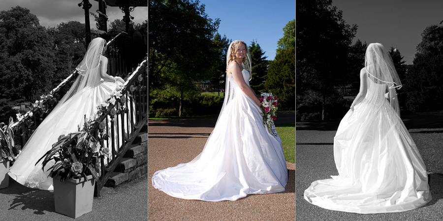 Stunning photos of the front and back of a bride's dress in sunny Buxton