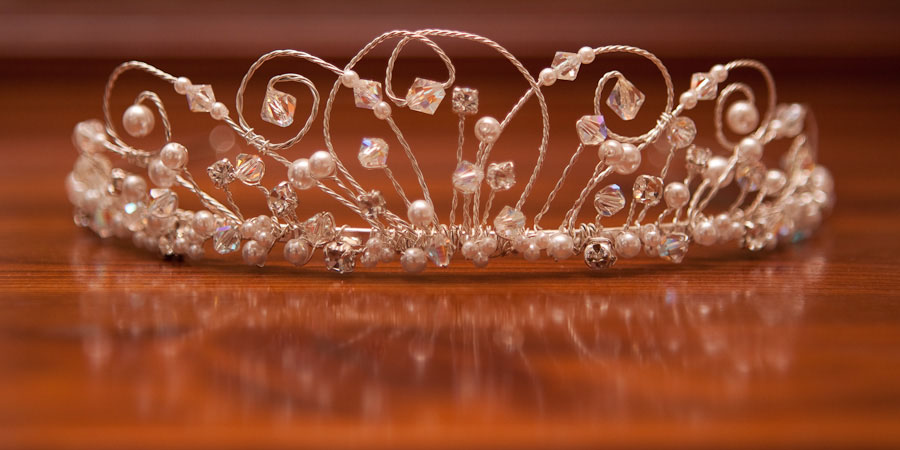 Beautiful photograph of a bejewelled tiara, ready for the bride to put on