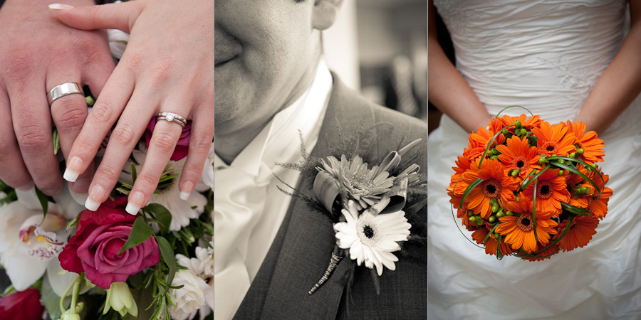 Wedding flower detail photographs - hands on the bridal bouquet, groom's buttonhole, and bride holding her orange bouquet