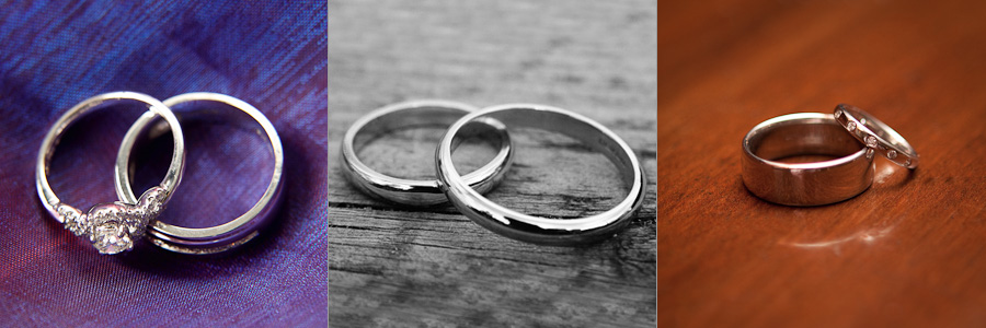 Detail photographs of three pairs of wedding rings