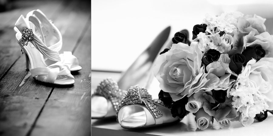 Bridal shoes waiting for the bride to put them on for her wedding in Rochdale