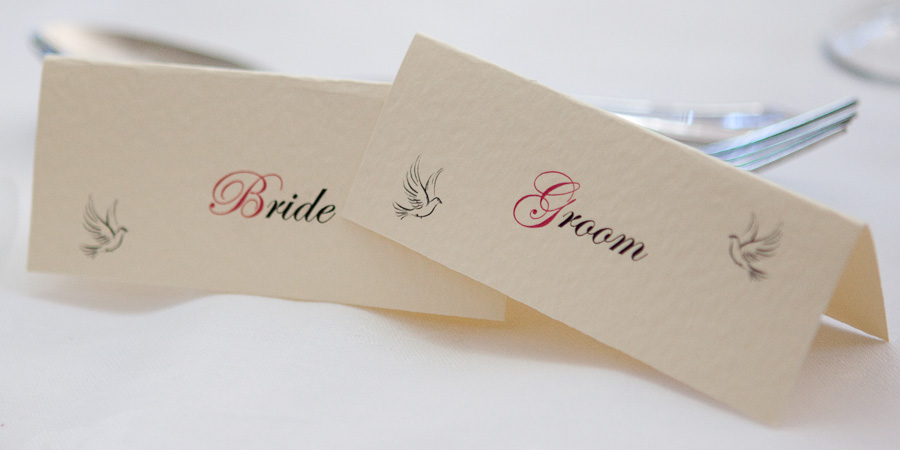 Bride and Groom name cards at wedding reception in Manchester