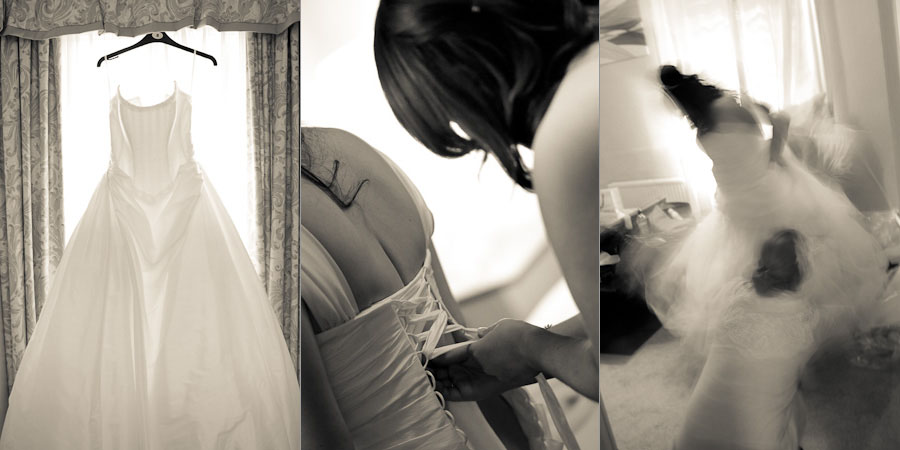 The wedding dress is put on, and the bridesmaids help the bride to dress