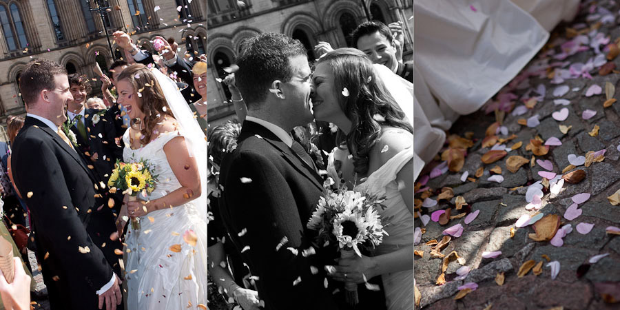 Action confetti photography at Manchester wedding, bride and groom smiling all the way...